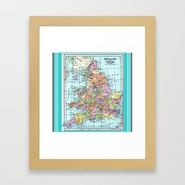 Vintage Map  of England and Wales Framed Art Print
