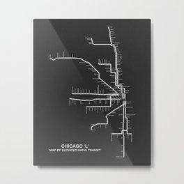 Chicago Transit Map B&W Metal Print