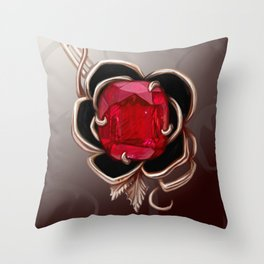 The Knightly rose brooch Throw Pillow