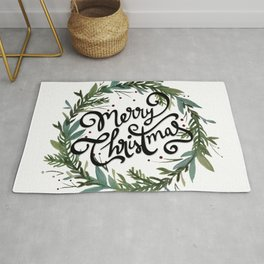 Merry Christmas Wreath Rug
