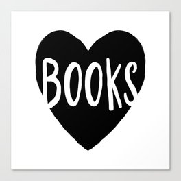 Heart Books - Hand lettered Book worm design  Canvas Print