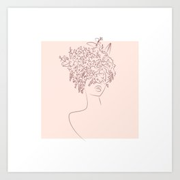 Flower camouflaged woman and sky - Moon - [Minimalist style - Line art] Art Print