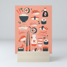 Sushi Dreams – Coral Mini Art Print