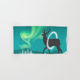 Magic Deer of the North Selas Aurora Borealis Hand & Bath Towel