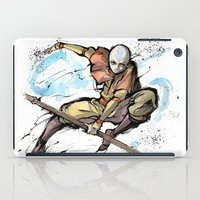 airbender iPad Cases featuring Aang from Avatar the Last Airbender sumi/watercolor by mycks