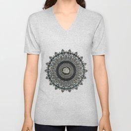 Black and White Flower Mandala with Blue Jewels Unisex V-Neck