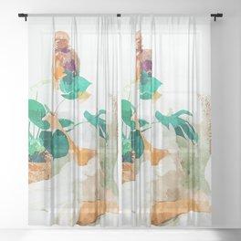Me + Monstera #painting #minimal Sheer Curtain