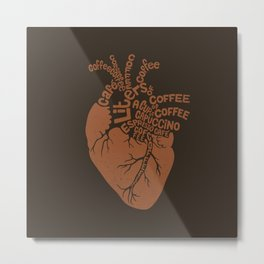 Coffee Lover Heart Metal Print