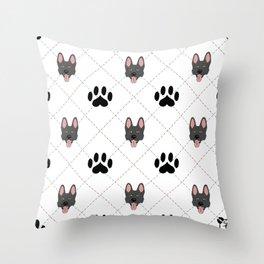 Black German Shepherd Paw Print Pattern Throw Pillow