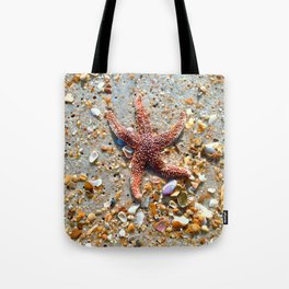 Washed up Beautiful Red Starfish Photo Art Tote Bag