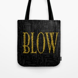 Blow BLACK & GOLD / Horn instruments forming type and background Tote Bag