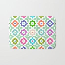 Moroccan Tile - colourful, green, teal, blue, purple,  orange Bath Mat