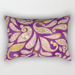 Gold and pink glitter Paisley pattern on purple Rectangular Pillow