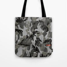Modern Woodgrain Camouflage / Winter Birch Woodland Print Tote Bag