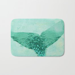 A Mermaid's Tail III, painterly coastal art, aqua metal Bath Mat