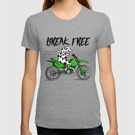 Cow riding a motorbike T-shirt