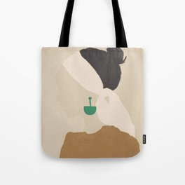 Minimalist Woman with Green Earring Tote Bag