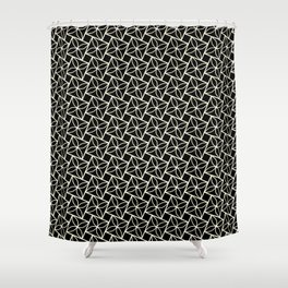 STACK attractive black & off-white squares with floral motif Shower Curtain