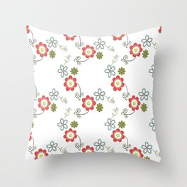 Ditsy Flower Chain Throw Pillow