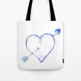 Blue Watercolor Crystal Heart Tote Bag