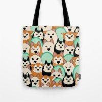 shiba inu Tote Bags featuring Shiba Inu by Modify New York