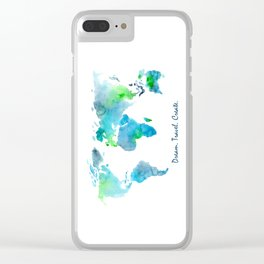 Dream. Travel. Create. || watercolor Clear iPhone Case