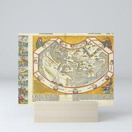Vintage Map Print - 1493 map of the world - Secunda etas mundi Mini Art Print