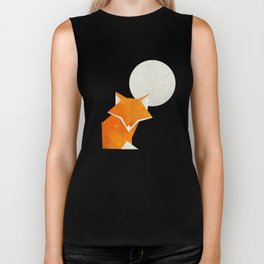 Origami Fox and Moon Biker Tank