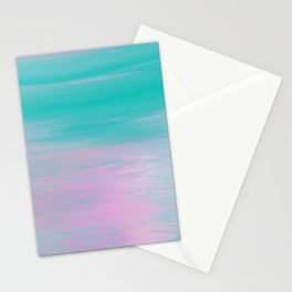 Modern pink turquoise nautical watercolor brushstrokes Stationery Cards