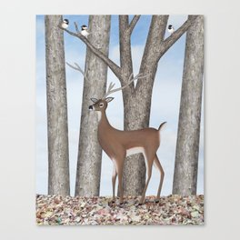 white-tailed deer & chickadees in the forest Canvas Print
