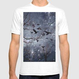 Woodland Crows And Bursting Stars T-shirt