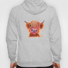 Scottish Highland Cow ' CHILLI CHOPS ' by Shirley MacArthur Hoody