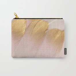 Gold Tipped Pink Feathers Carry-All Pouch