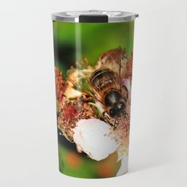 Honey Bee on a Blackberry flower Travel Mug