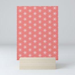 white star pattern on salmonpink color background Mini Art Print