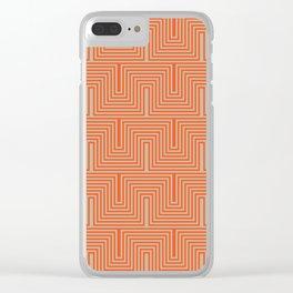 Doors & corners op art pattern in orange and beige Clear iPhone Case