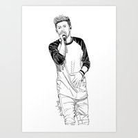 niall Art Prints featuring niall by otp-hedgefrog
