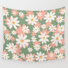 Flower Market London, Pastel Daisies Retro Print Wall Tapestry
