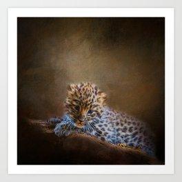 Cute painting amur leopard cub Art Print