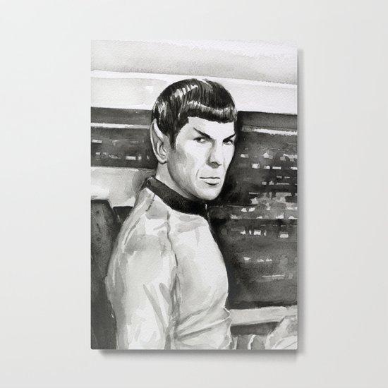 Spock Leonard Nimoy Portrait Sci-fi Geek Painting Metal Print