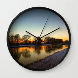 Winter sun early morning waterfront Wall Clock