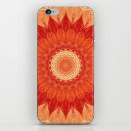 Mandala orange red iPhone Skin
