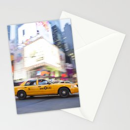 Yellow taxi cab in times square Stationery Cards