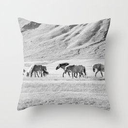 Horses in Iceland Photograph Throw Pillow