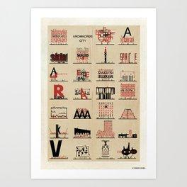 Archiwords city-01 Art Print