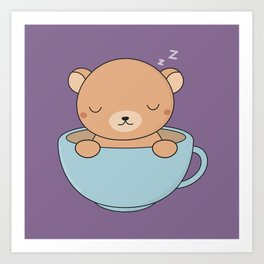 Kawaii Cute Coffee Brown Bear Art Print
