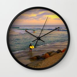 Surfer, Sunset, Cardiff, CA Wall Clock