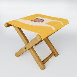 Fancy Llama - Yellow Background Folding Stool
