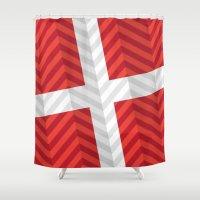 denmark Shower Curtains featuring Denmark Flag by m. arief (mochawalk)