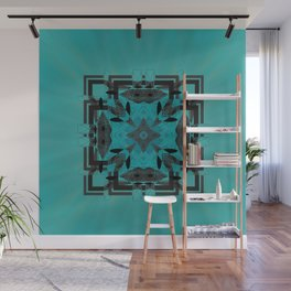 Turquoise Ornate Abstract Design Wall Mural